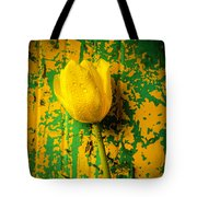Tulip Against Yellow Green Background Tote Bag