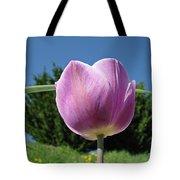 Tulip Flower Landscape Art Print Purple Tulips Baslee Tote Bag