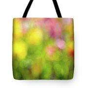 Tulip Flowers Field Blurred Defocused Background Tote Bag