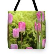 Tulip Garden Landscape Art Prints Pink Tulips Floral Baslee Troutman Tote Bag