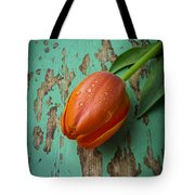 Tulip On Old Green Table Tote Bag