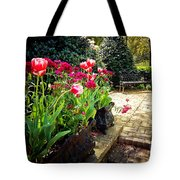 Tulips And Bench Tote Bag