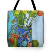 Tulips And Iris In A Japanese Vase, With Fruit And Textiles Tote Bag