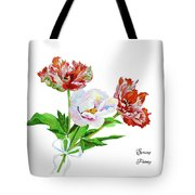 Tulips And Pink White Peony Tote Bag