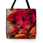 Tulips And Red Daisies  Tote Bag