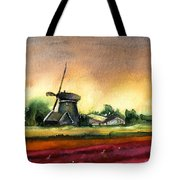 Tulips And Windmill From The Netherlands Tote Bag