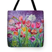 Tulips Are Magic In The Night Tote Bag