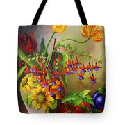 Tulips In A Vase With Some Tomatoes Tote Bag