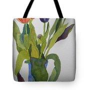 Tulips In Blue Vase Tote Bag