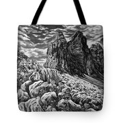 Tulips In The Alps Black And White Tote Bag