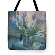Tulips On A Window  Tote Bag