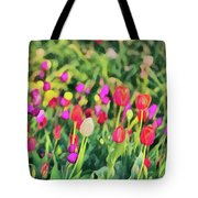 Tulips. Monet Style Digital Painting. Tote Bag by Michael Goyberg