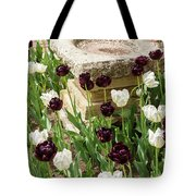 Tulips Surround The Bird Bath Tote Bag