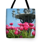 Tulips With Bartholdi Fountain Tote Bag