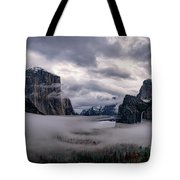Tunnel View Storm Clouds Tote Bag