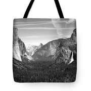Tunnel View Yosemite B And W Tote Bag