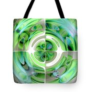 Turquoise And Green Abstract Collage Tote Bag