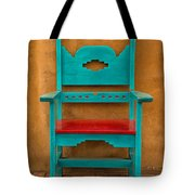 Turquoise And Red Chair Tote Bag