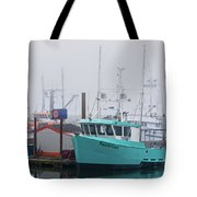 Turquoise Fishing Boat Tote Bag
