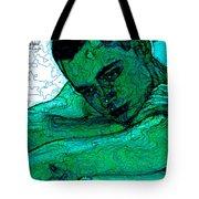 Turquoise Man Tote Bag