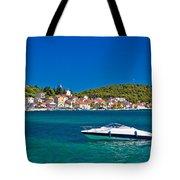 Turquoise Waterfront Of Rogoznica Tourist Destination Tote Bag