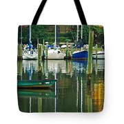 Turquoise Workboat In The Colorful Harbor Tote Bag