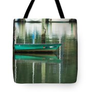 Turquoise Workboat On The Calm Harbor Tote Bag