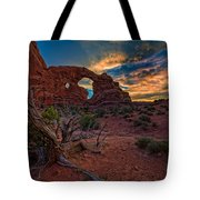 Turret Arch At Sunset Tote Bag