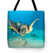 Turtle And Diver Tote Bag