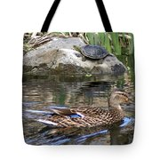 Turtle And Duck Tote Bag