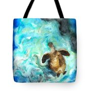 Turtle In Blue Tote Bag