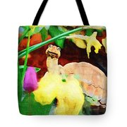 Turtle In The Tulips Tote Bag
