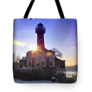 Turtle Rock Light House At Sunrise Tote Bag