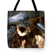 Turtle With His Mouth Wide Open  Tote Bag