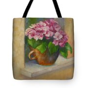 Tuscan Flower Pot Oil Painting Tote Bag