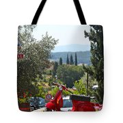 Tuscan Landscape And Scooter Tote Bag