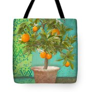 Tuscan Orange Topiary - Damask Pattern 2 Tote Bag