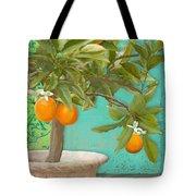 Tuscan Orange Topiary - Damask Pattern 3 Tote Bag
