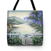 Tuscan Pond And Wisteria Tote Bag