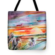 Tuscany Landscape Autumn Sunset Fields Of Rye Tote Bag
