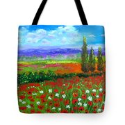 Tuscany Poppies Field Tote Bag