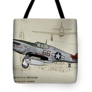 Tuskegee P-51b By Request - Profile Art Tote Bag