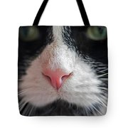 Tuxedo Cat Whiskers And Pink Nose Tote Bag