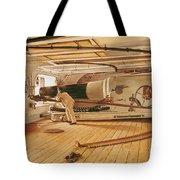 Twenty-seven Pound Cannon On A Battleship Tote Bag