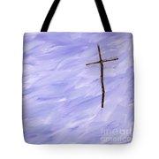 Twig Cross On Purple Tote Bag