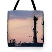 Twilight Over Petrochemical Plant Tote Bag