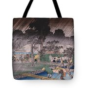 Twilight Shower At Tadasu Bank Tote Bag by Hiroshige