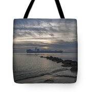 Twilight Steaming Into Charleston Harbor Tote Bag