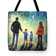 Twilight Walk Family Two Sons Tote Bag