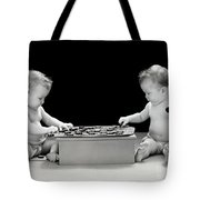 Twin Babies Playing Checkers, C.1930-40s Tote Bag